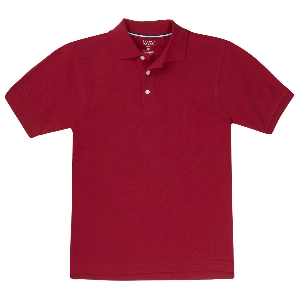 School Uniform Unisex Short Sleeve Pique Knit Shirt By French Toast, Red 31967-10Husky