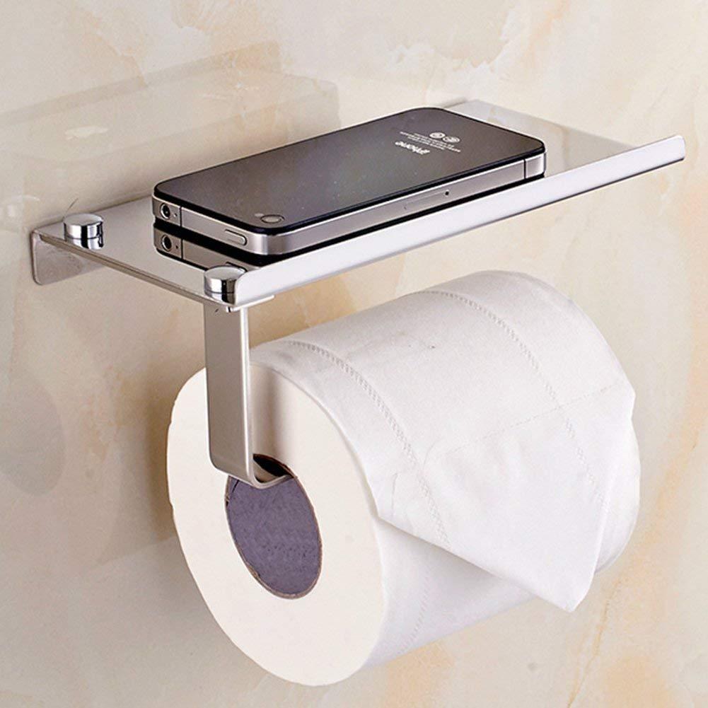 Taille M Silver Dragonaur support mural de salle de bain papier toilette Tissue support avec t/él/éphone portable /étag/ère de rangement Acier inoxydable