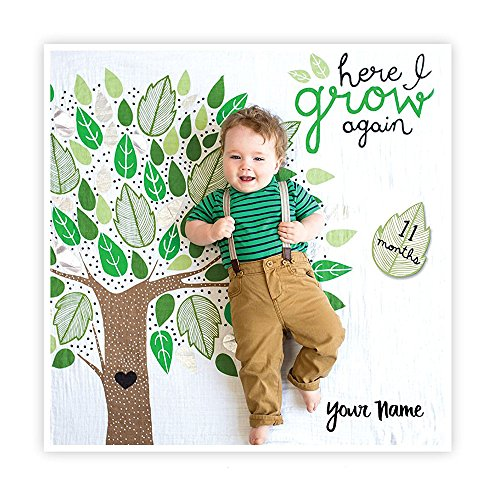 Personalized Deluxe Baby's First Year Here I Grow Again Growing Tree with Green and Metallic Silver Leaves Print Growth Blanket Month and Holiday Milestone Cards Set with Name