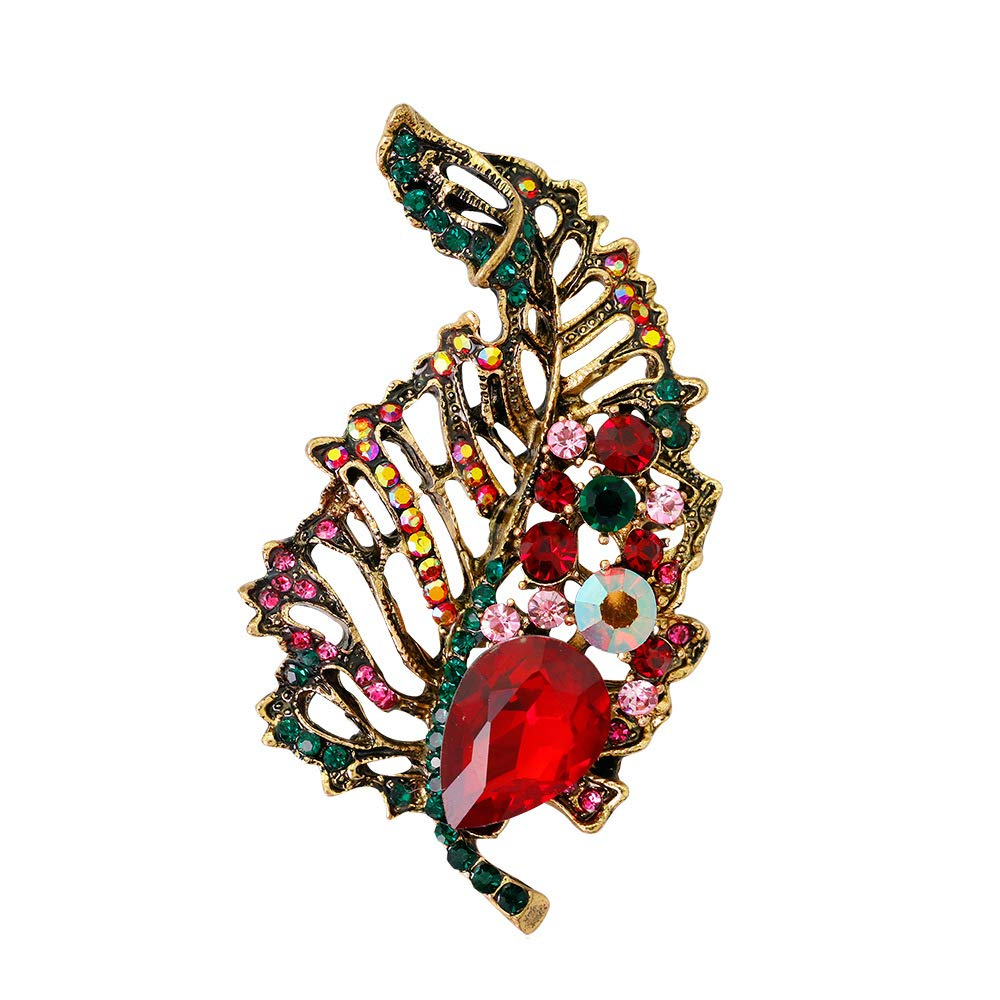 Dwcly Gorgeous Rhinestone Peacock Feathers Nature Leaf Brooch Pin Crystal Jewelry Feather Scarf Pins (red)