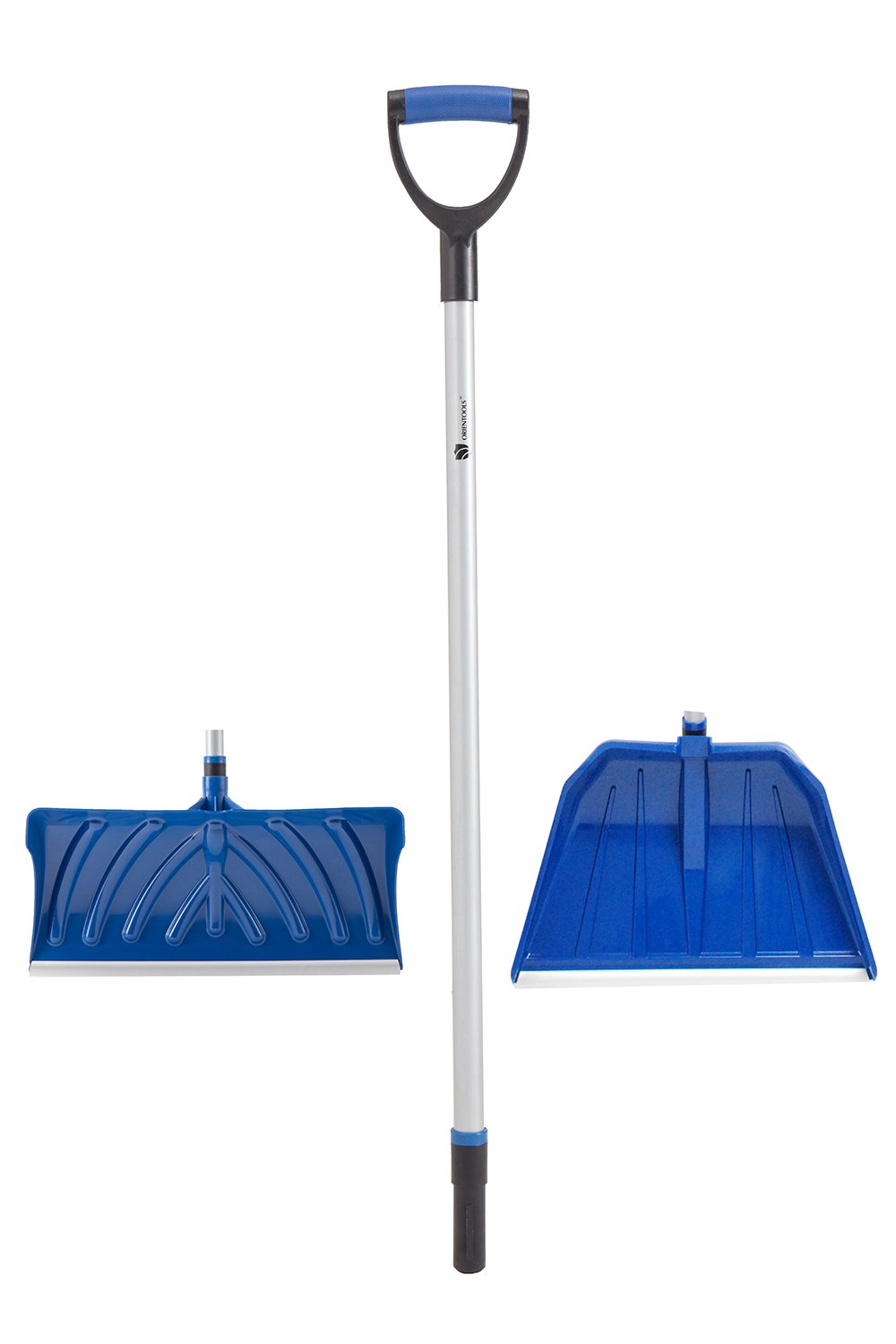ORIENTOOLS Heavy Duty Dismountable Snow/Garden Shovel Set with D-Grip Handle, Perfect for Shoveling or Pushing Snow, Soils and Grains (19'' Shovel and 22'' Pusher Blades)