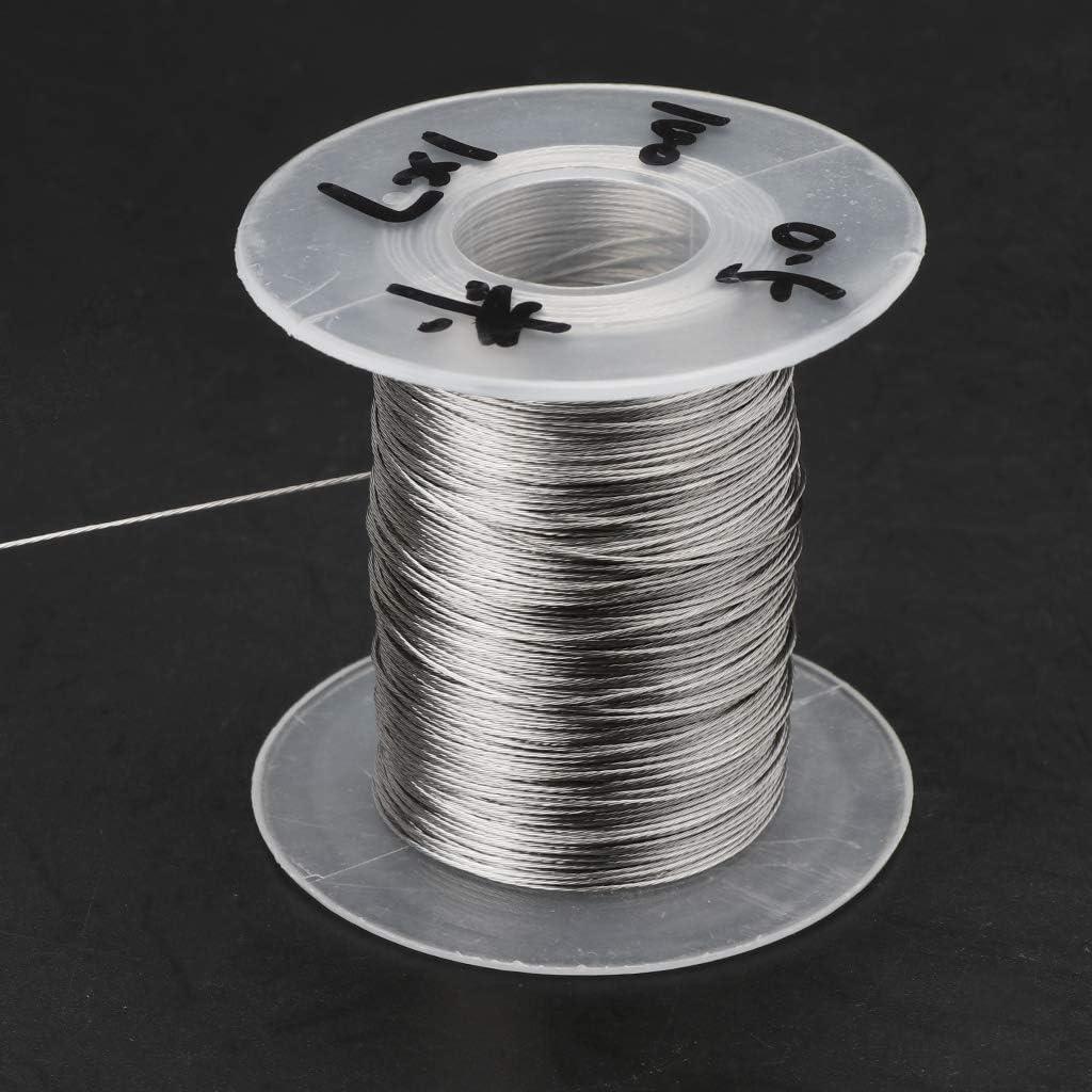 Rtengtunn C/âble de Levage Mou de la Corde 1 /× 7 de p/êche de c/âble m/étallique dacier Inoxydable 304 de 100m avec 30 Embouts en Aluminium 0.3mm