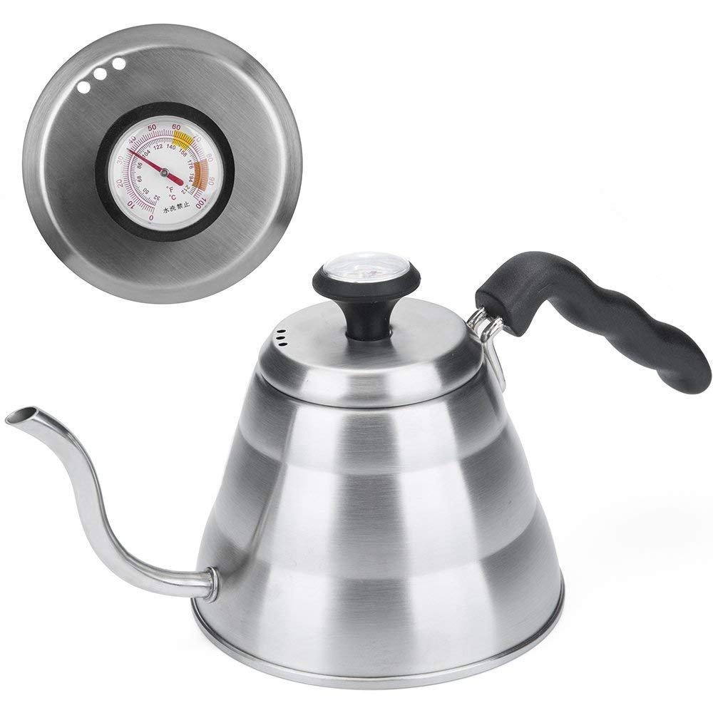QJONKE Café Hervidor De Agua Última Intervensión De BPA con Termómetro Integrado 1 Litro Acero Inoxidable Café De Goteo De Cuello De Cisne Hervidor De Agua ...