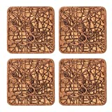 Atlanta Map Coaster by O3 Design Studio, Set Of 4, Sapele Wooden Coaster With City Map, Handmade