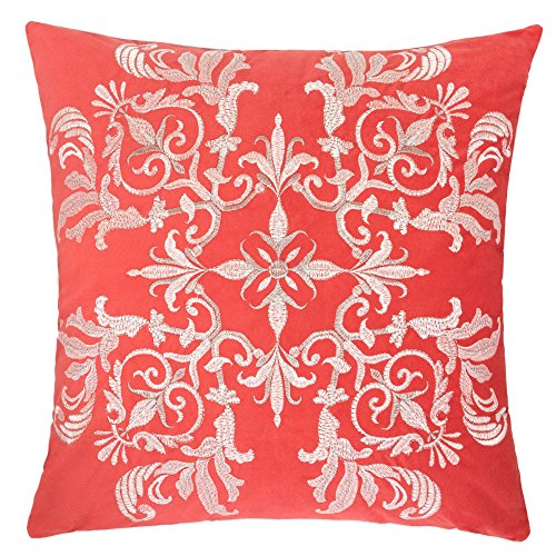 Homey Cozy Embroidery Coral Velvet Throw Pillow Cover,Passionate Series Blossom Floral Bright Spring Tropical Decorative Pillow Case Home Decor 20x20,Cover (Coral Embroidery)