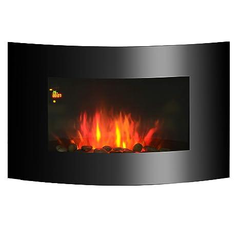 Chimenea Eléctrica con Calefacción y Llama LED Decorativa - Acero Inoxidable - Color Negro - 65x11,2x52cm