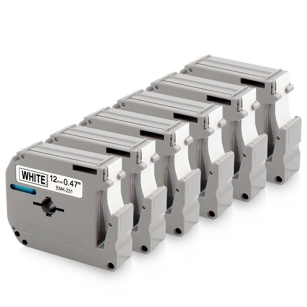 M Tape, 12mm 0.47 Inch White Compatible Brother P Touch M231 MK231 M-K231 M-231 Black on White for Brother P-Touch Label Maker PT-90 PT-M95 PT-70BM PT-65 PT-85 PT-45 and More, 26.2 Feet (8m), 6-Pack