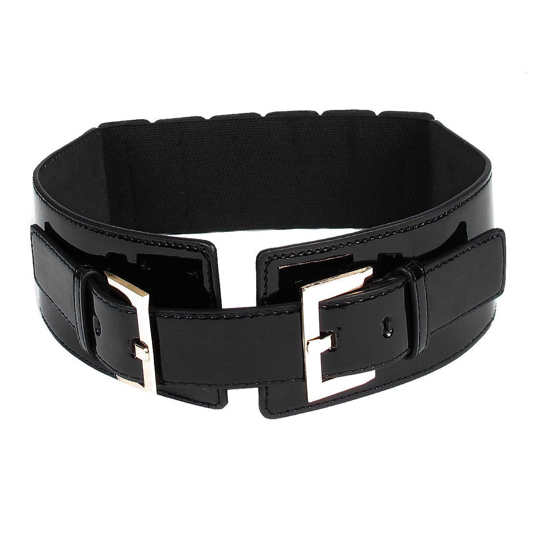 Lady Metal Single Pin Double Buckle Closure Adjustable Wide Cinch Waist Belt