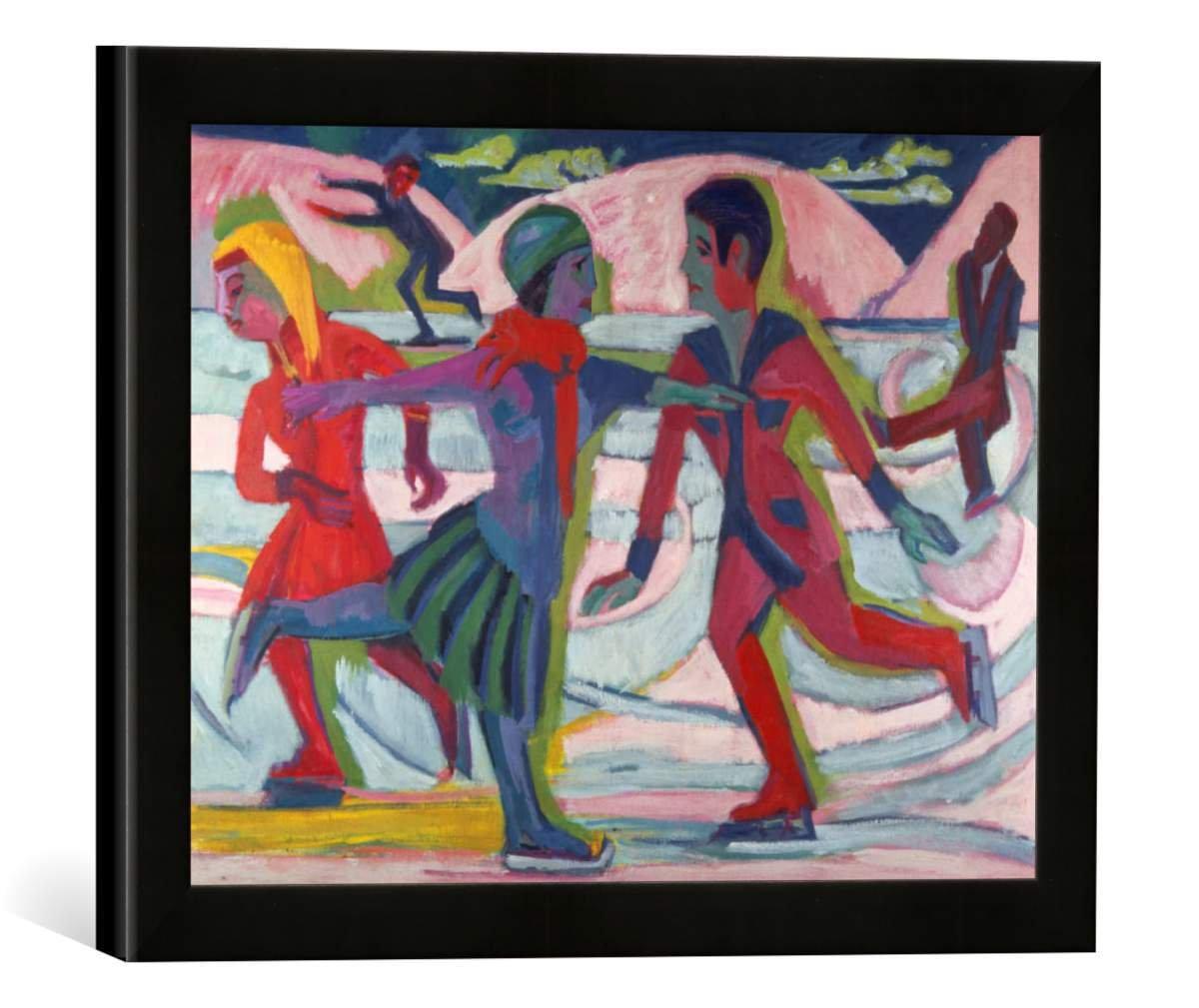 Gerahmtes Bild von Ernst Ludwig Kirchner Schlittschuhläufer, Kunstdruck im hochwertigen handgefertigten Bilder-Rahmen, 40x30 cm, Schwarz matt