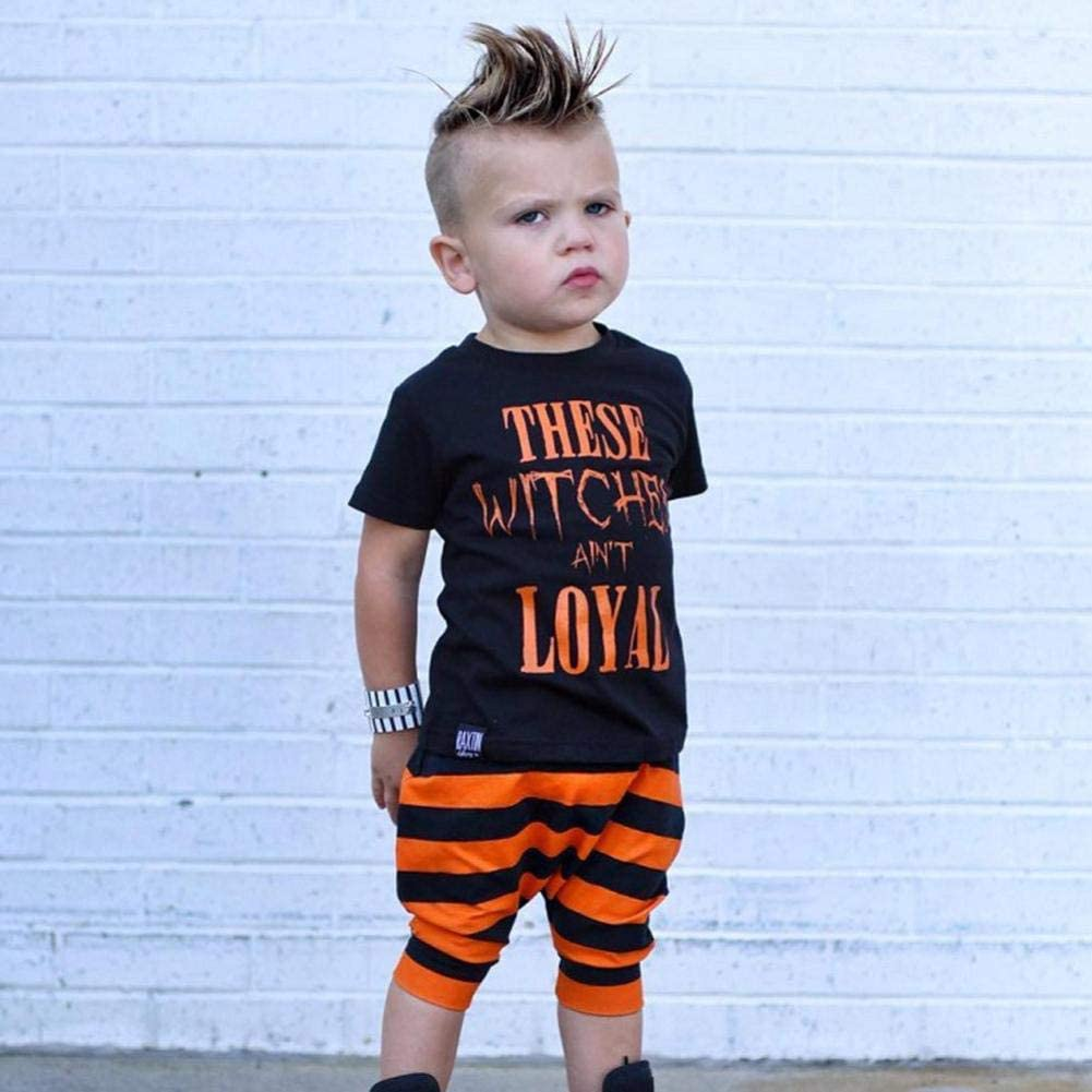 FreshZone Halloween Letter T Shirt Outfits for Boys Girls,Baby Short Sleeve Tops Clothes