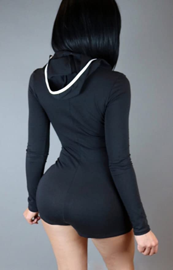 1bee86e3275d Amazon.com  C.X Trendy Sexy V-neck One Piece Hooded Zipper Shorts Jumpsuit  Rompers for Women  Clothing