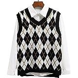 Lailezou Women's V-Neck Knit Sweater Vest Solid Color Argyle Plaid Preppy Style Sleeveless Crop Knit Vest