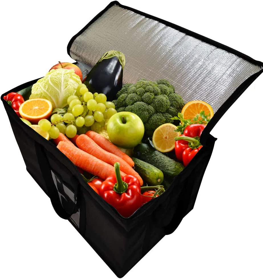 Premium Quality Insulated Collapsible Cooler Bags with Zipper Closure, Reusable Grocery Shopping Bags Keep Food Hot or Cold,Ideal for Uber Eats,Instacart,Postmates, Restaurant, Catering, Grocery Trans