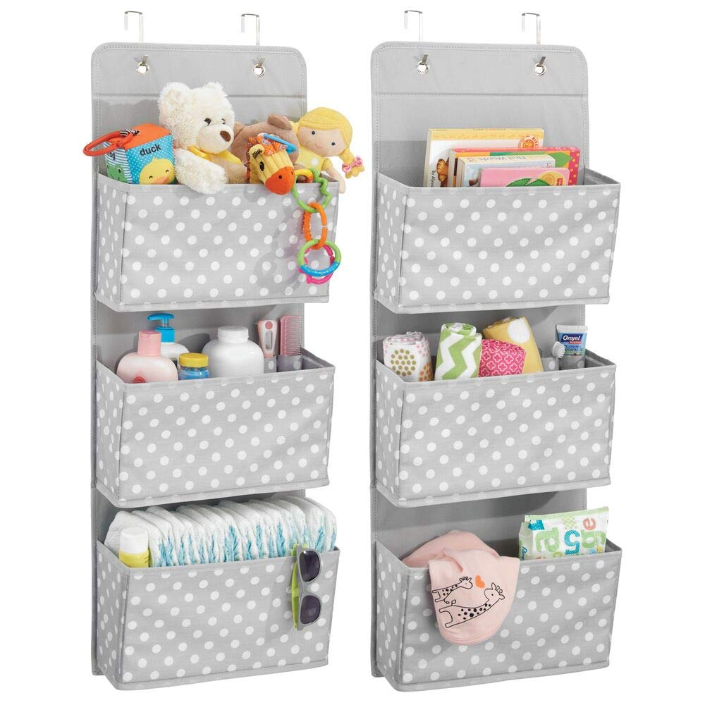 mDesign Soft Fabric Wall Mount/Over Door Hanging Storage Organizer - 3 Large Pockets for Child/Kids Room or Nursery - Hooks Included - Polka Dot Print, 2 Pack - Light Gray with White Dots by mDesign