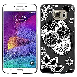 Design for Girls Plastic Cover Case FOR Samsung Galaxy S6 Skull Flowers Wallpaper Floral Smile OBBA