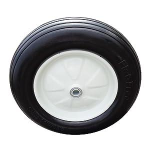 "Fortitude Machines 2-Pack 4.80/4.00-8"" Tire Replacement for Lawn Mower Generator, 3"" Centered Hub, 3/4"" Bearing Flat Free PU Foam Wheel"