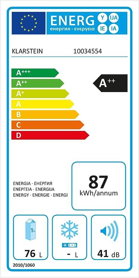 Klarstein Delaware nevera - 76 litros de capacidad, eficiencie ...