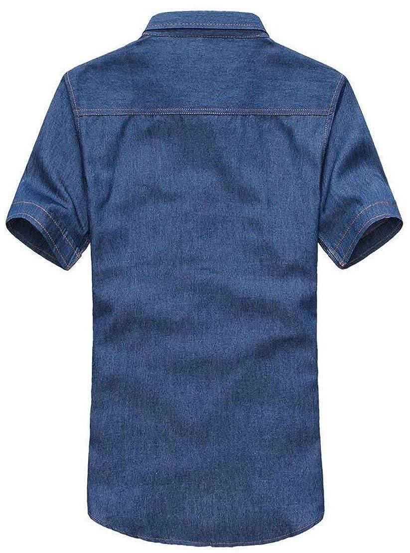 X-Future Mens Shorts Sleeve Pocket Button Down Slim Fit Denim Shirts