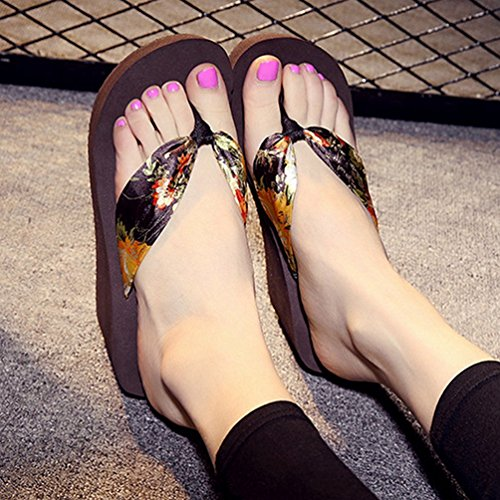 Plate épais Sandale Sandales Bas Dérapantes Silde Femmes Marron Wedge Anti Flops Forme Pantoufles Flip awx4z6qBE