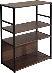 CUBESPACE 3-Tier Metal Bookcases and Book Shelves, Storage Shelves, Storage Racks and Shelving, Display for Home/Office/Dormitory/Garage(Black + Walnut)
