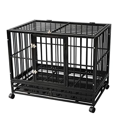 TONYRENA 42 inch Heavy Duty Strong Folding Metal Dog Crate Kennel Playpen