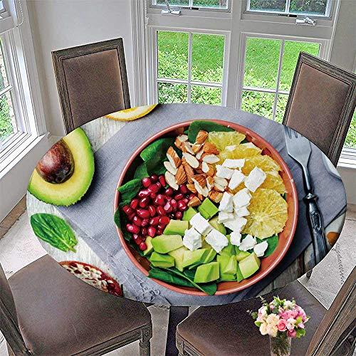 PINAFORE HOME Round Premium Table Cloth Spinach feta Avocado Pomegranate Orange Almond Salad with Orange Vinegar Dress ton Perfect for Indoor, Outdoor 40