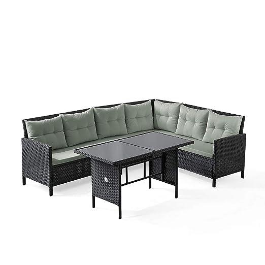 Conjunto de muebles de jardín, sofá esquinero Svita de polirratán ...