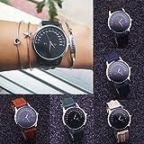 Clearance! Napoo Women Ladies Unique Dial Design Leather Band Analog Quartz Wrist Watch