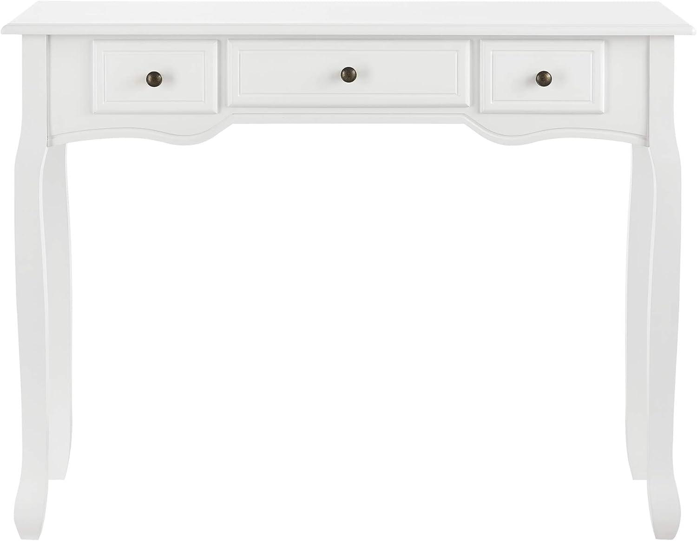 B-WARE Konsolentisch mit 3 Schubladen Frisiertisch Konsole Ablagetisch Weiß