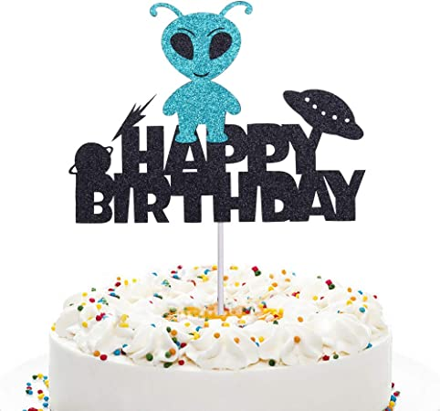Spaceship and UFO Happy Birthday 225-A118 Cake Topper