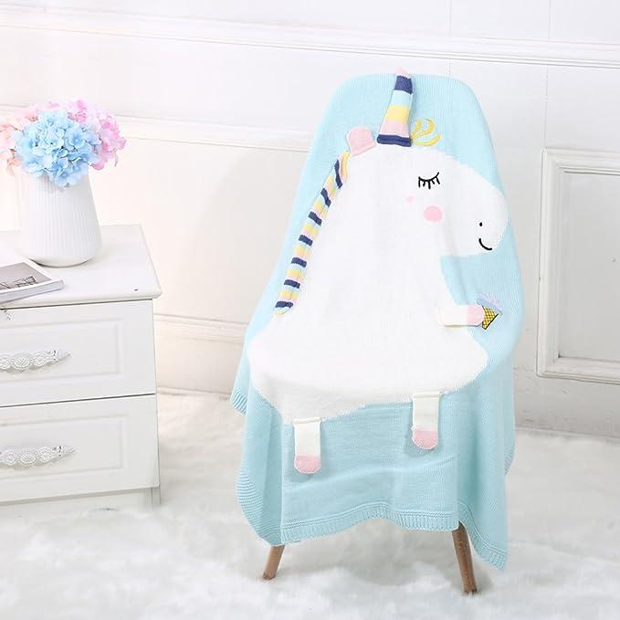Prettyia 2 piezas de Manta de Unicorn Suave para Bebés Niños de color Azul Rosa: Amazon.es: Bebé