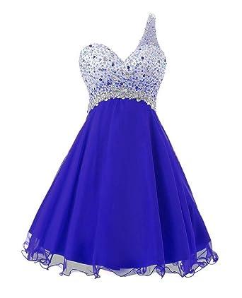 Dressesonline One Shoulder Homecoming Dress Short Beaded Chiffon Prom Dresses 2