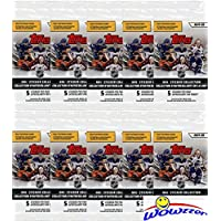 2019/20 Topps NHL Hockey Stickers Collection of TEN(10) Factory Sealed Sticker Packs with 50 Brand New MINT Stickers! Look for Stickers of all your Favorite NHL Hockey Superstars & Rookies! WOWZZER!