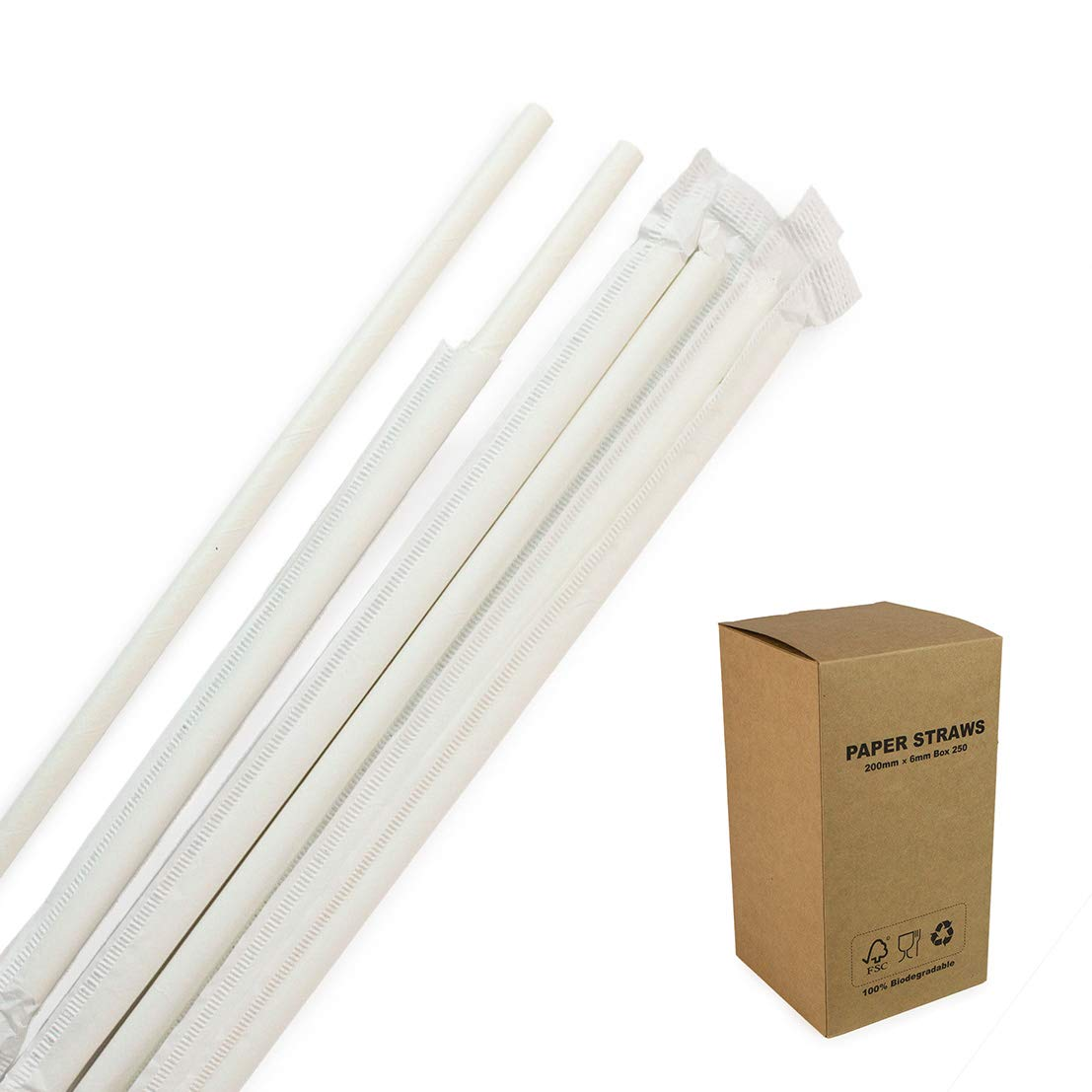 White Paper Straws Wrapped Individually Biodegradable Food-Safe 7 3/4 inches Plain Solid Straws For Bar Restaurant Hotel 250PCS/BOX