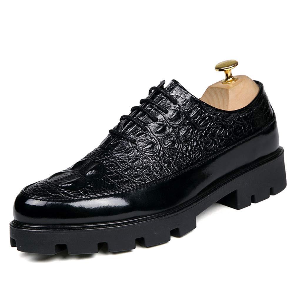 Oxford Shoes Men's Oxfords Shoes Full Steal 6.0cm Hight Heel Crocodile Pattern Lace up Shoes Dress Shoes Business Shoes for Men (Color : Black, Size : 7 M US)