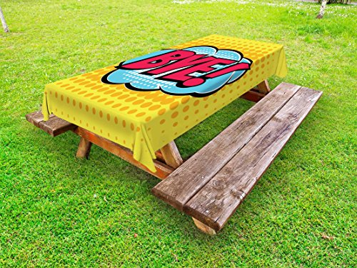 Ambesonne Going Away Party Outdoor Tablecloth, Comic Book Bubble Text Retro Style Bye Cartoon Design Art, Decorative Washable Picnic Table Cloth, 58 X 84 Inches, Hot Pink Pale Blue Yellow by Ambesonne