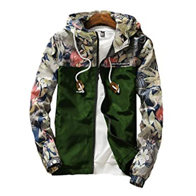 8be367f91 Juleya Men Hooded Jacket Coats Zipper Floral Bomber Casual Jackets ...