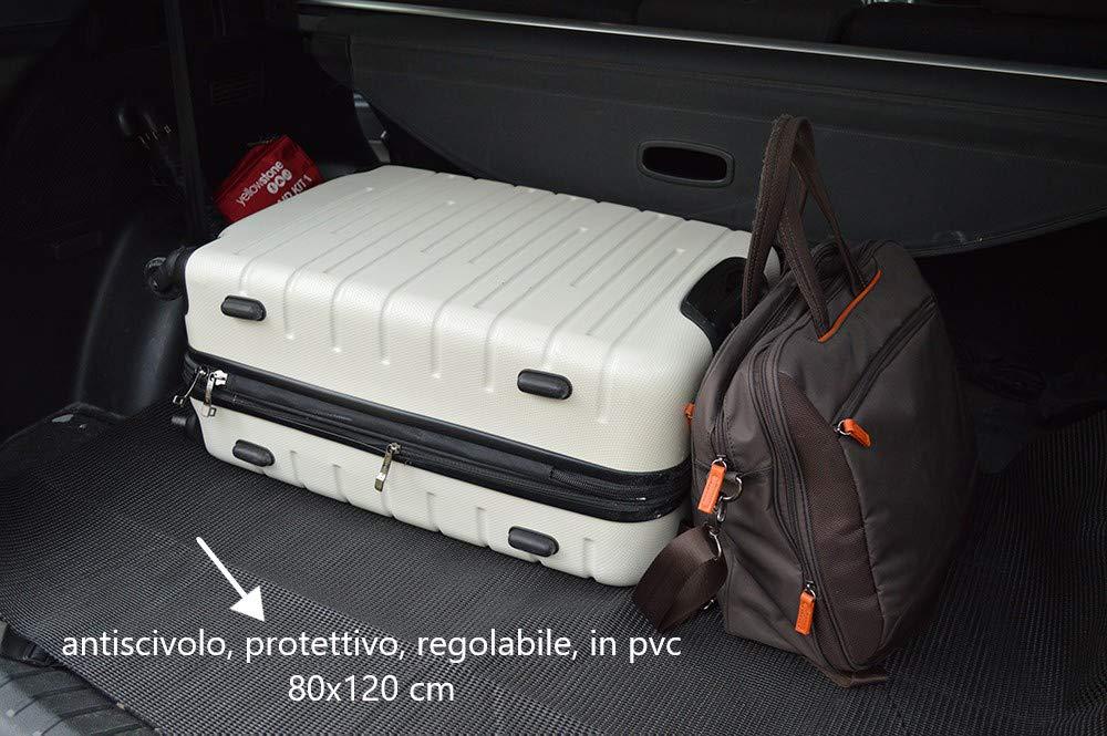 80 x 120 cm benson Set 2 x Tappetino Antiscivolo Sagomabile Antisporco Protettivo per Bagagliaio Auto Macchina Interni Sedile Posteriore Baule in PVC Nero