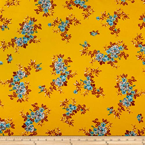 - Fabric Merchants Double Brushed Poly Jersey Knit Tropical Flowers Fabric, Gold/Blue, Fabric By The Yard