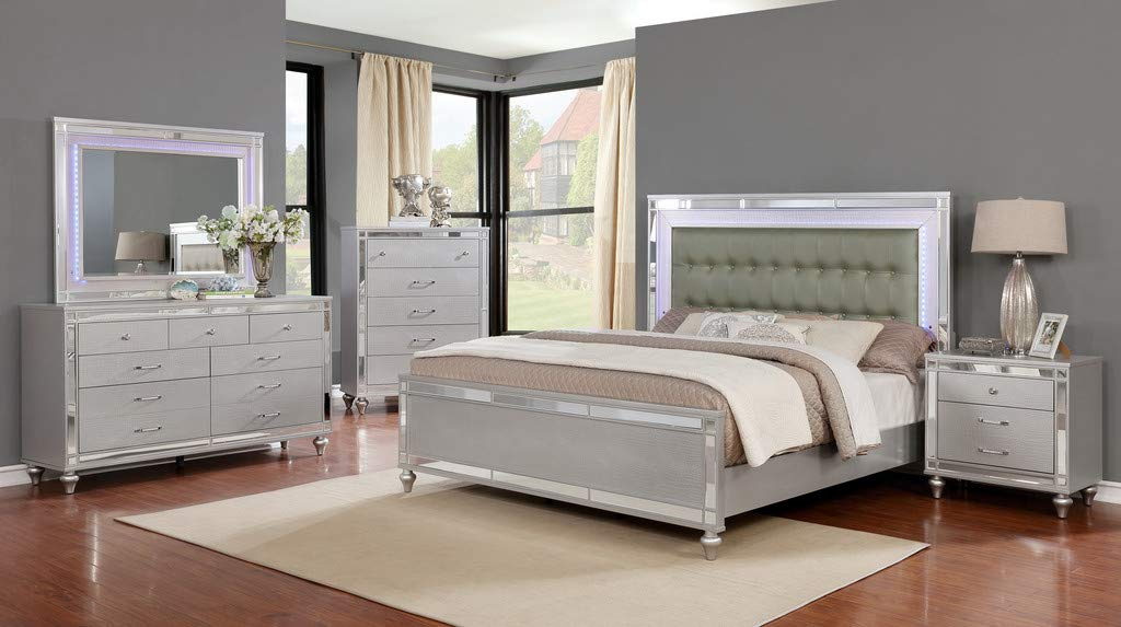 GTU Furniture Wooden Grey/Silver 5Pc Queen Bedroom Set(Q/D/M/N/C)