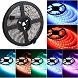 Linkstyle 16.4ft RGB LED Strip Lights, 300 Units SMD 5050 LEDs RGB LED Tape Flexible LED Strip Light Kit, Replacement 5050 LED Strip for Bedroom TV Backlight Bar Party(Power Adapter Not Included)