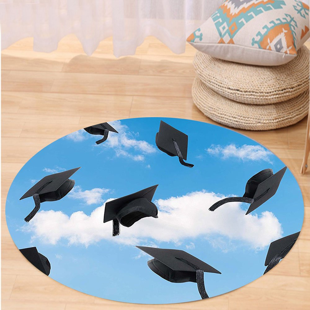 Kisscase Custom carpetGraduation Caps Thrown into Sky Last of the School Highschool College Ceremony Picture for Bedroom Living Room Dorm Blue Black