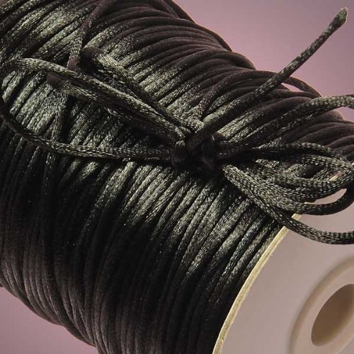 Ben Collection 2mm X 100 Yard Rattail Satin Nylon Trim Cord Chinese Knot (Black)