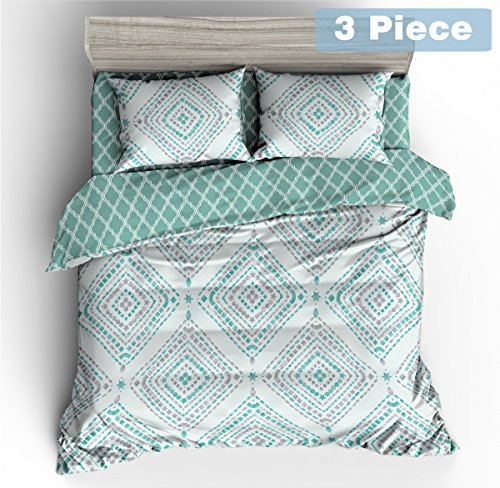 Jml 3 Piece Duvet Cover Set with Zipper Closure, Floral Pattern, Hypoallergenic, Wrinkle and Shrink Resistant, Microfiber Comforter Cover with 2 Pillowcases, Reversible Bedding, King, 90