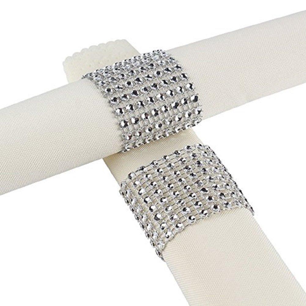KUPOO Napkin Rings Rhinestone Napkin Rings Adornment For Wedding Party (50PCS Gold)