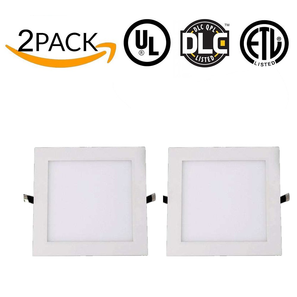 Rekabel 18W LED Square Panel Nature White Bright Light Nature White LED Recessed Ceiling Lights for Home Office Commercial Lighting(2 Pack) (3000) by Rekabel (Image #2)