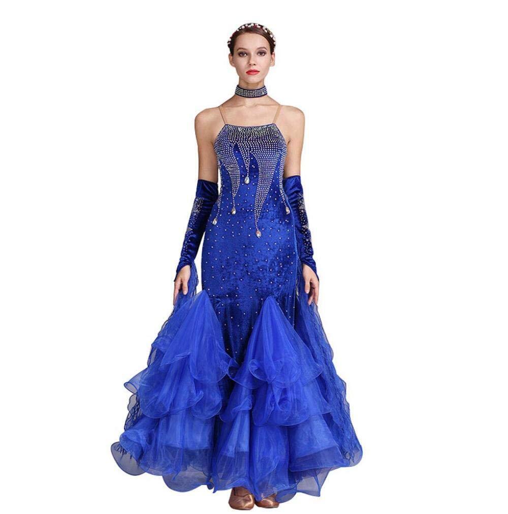 XL Z&X Robe De Bal Moderne De Danse pour La Compétition Valse Tango VêteHommests Jupes Costume Manches Longues VêteHommests Justaucorps Velours Coréen