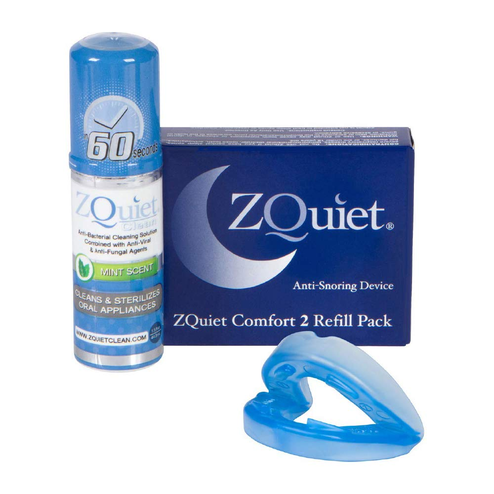 ZQUIET Anti-Snoring Mouthpiece Solution, Comfort Size #2 Refill ONLY (Single Device) + Anti-Bacterial Cleaner (1.5oz Bottle) - Made in USA & FDA Cleared, Sleep Aid, Dentist Designed Oral Appliance by ZQuiet