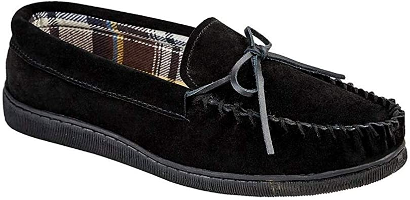 New Mens//Gents Navy Leather Suede Moccasin Slippers UK Size