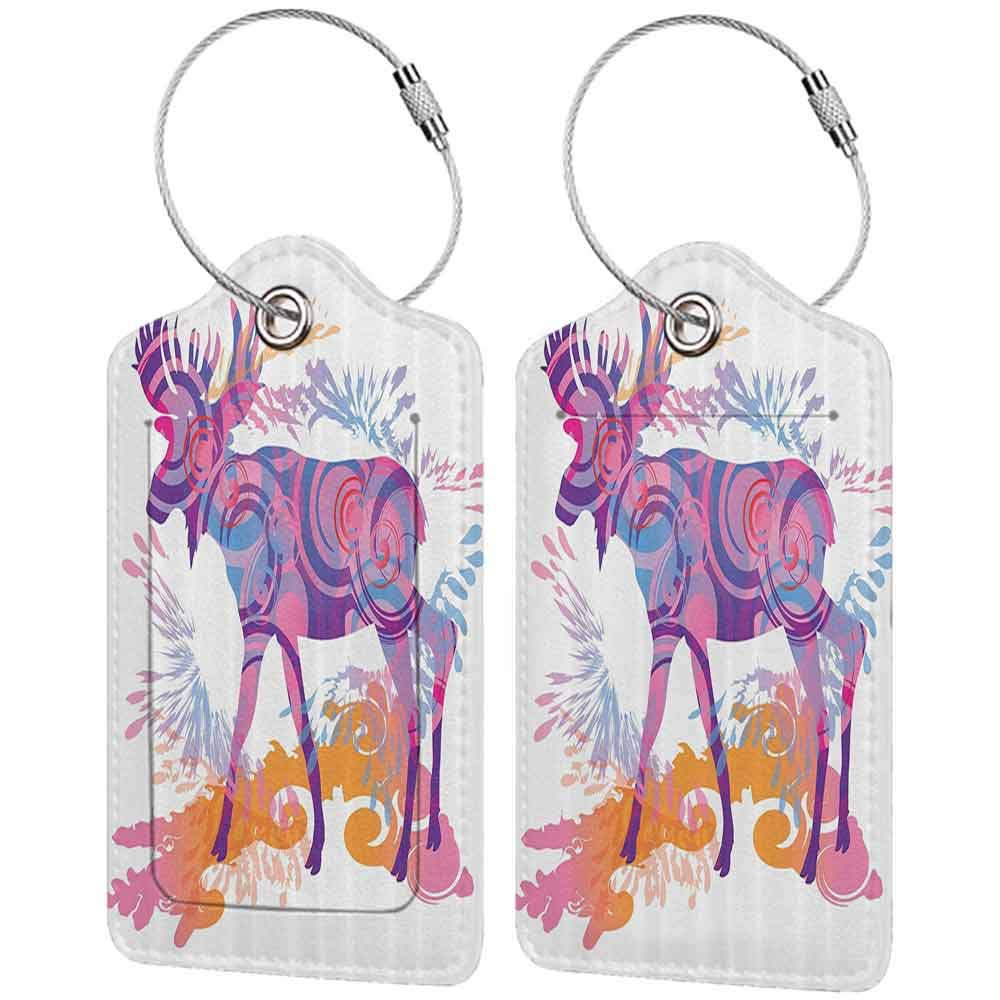 Waterproof luggage tag Moose Decor Unusual Deer Figure with Trippy Featured Color Effects Digital Vivid Display Soft to the touch Mauve Orange W2.7 x L4.6
